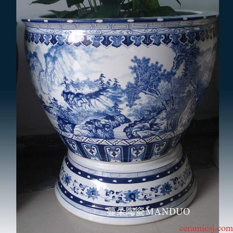 Jingdezhen 100 cm diameter cylinder with China foot China VAT elegant round expressions using China VAT landscape
