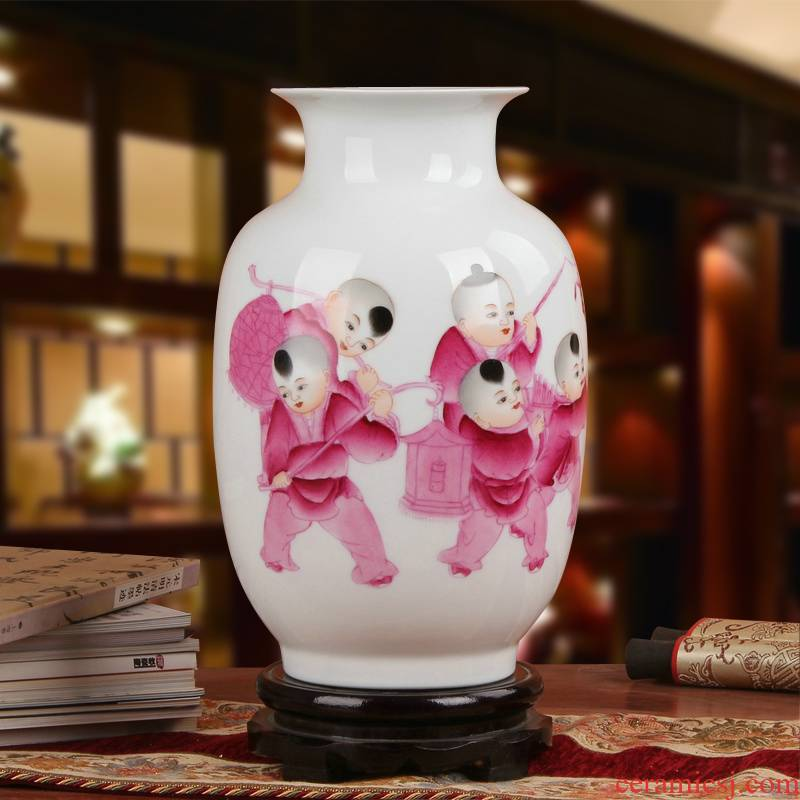 Famous jingdezhen ceramics vase Xia Guoan works upscale gift porcelain hand made red children east gourd bottle