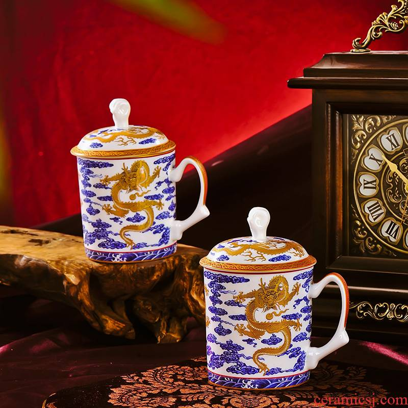Red xin jingdezhen premium office large ceramic tea cup palace imperial collection principal dragon cup