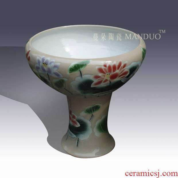 Jingdezhen fashion beautiful tall cylinder shallow courtyard indoor cylinder goldfish lotus pond lily tortoise porcelain