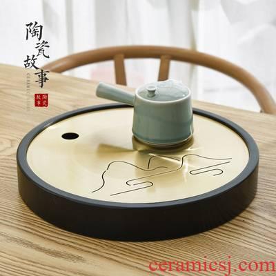 Ceramic tea tray was Japanese zen story's brass dry tea sets tea saucer sea water household creative kung fu tea set
