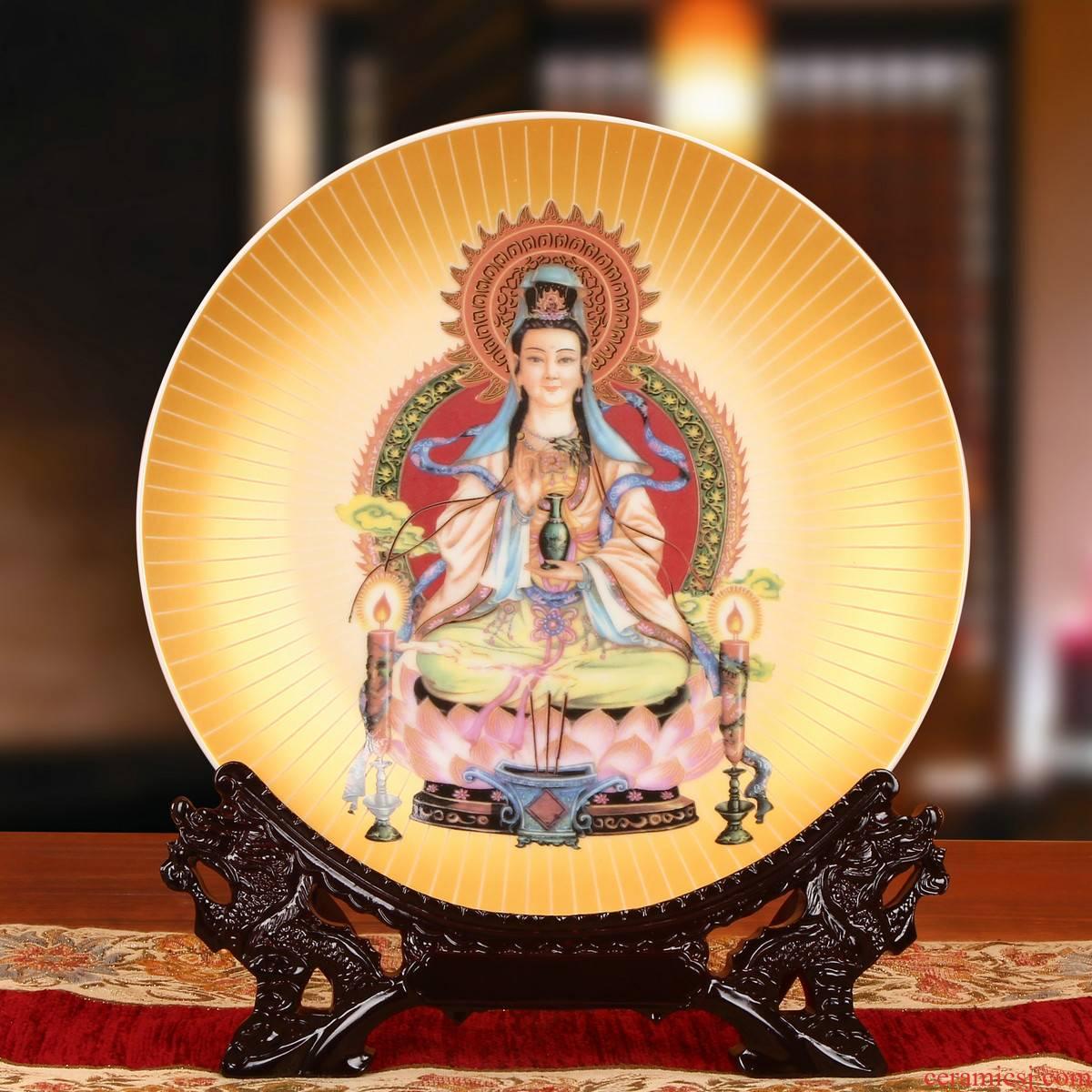 End of jingdezhen ceramics gold guanyin tuas hang dish his classical Chinese buddhist gift furnishing articles