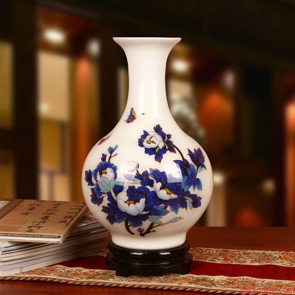 Jingdezhen ceramics vase gold white blue peony design wedding gift crafts furniture collection