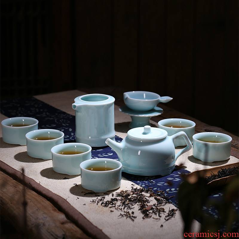 Red xin up celadon brother name plum green ceramic kung fu tea set ceramic cups of a complete set of a complete set of gift