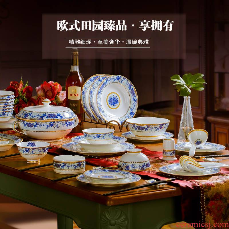 Ou jingdezhen ipads China porcelain tableware red xin 】 【 56 + 2 head ipads porcelain tableware suit to use