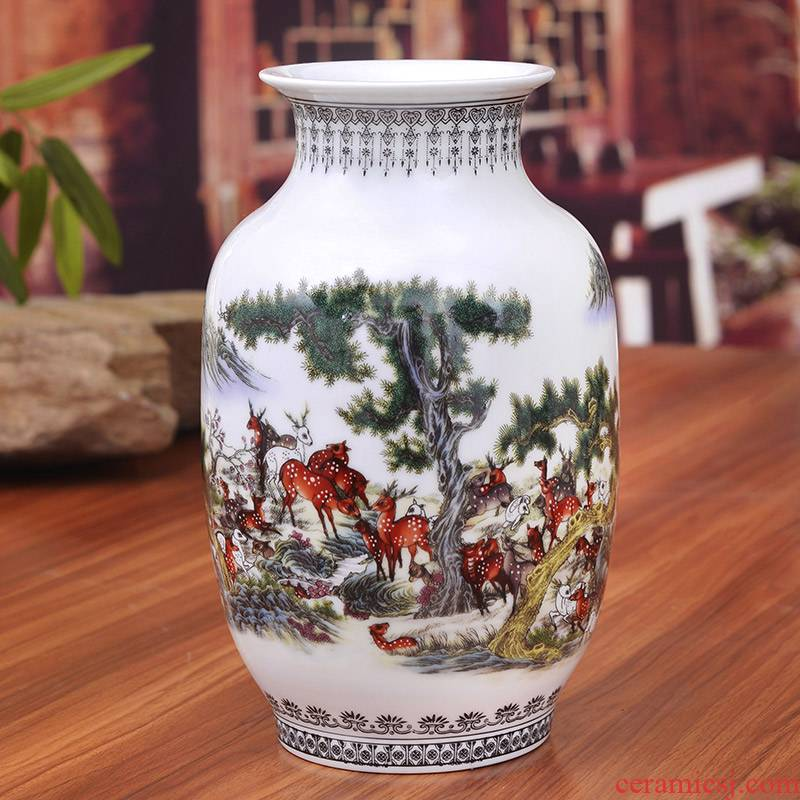 Jingdezhen ceramics powder enamel best deer figure vase of modern home decoration crafts are sitting room housewarming gift
