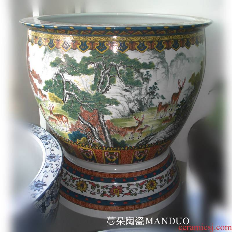 Jingdezhen hand - made under glaze color porcelain VAT hand - made the deer figure crane, deer foot with spring porcelain porcelain cylinder cylinder