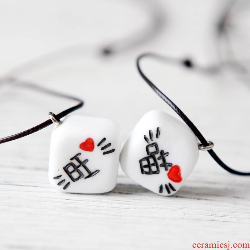 QingGe ceramic picking pendant necklace manual engraving art small pure and fresh and joker men and women stalls supply of goods