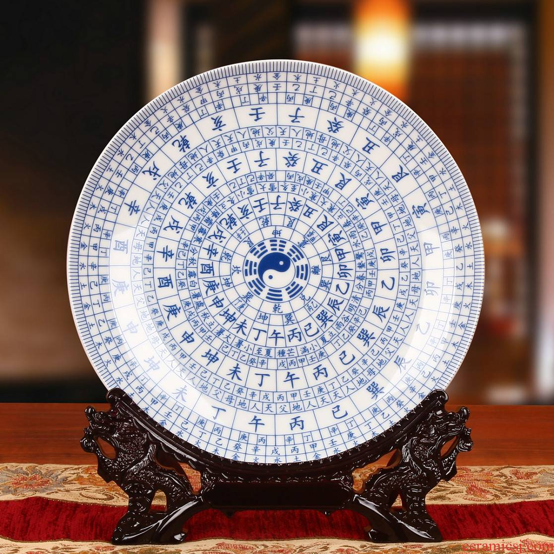 Jingdezhen ceramics white eight diagrams by hang dish plate faceplate Chinese style classical decoration home furnishing articles