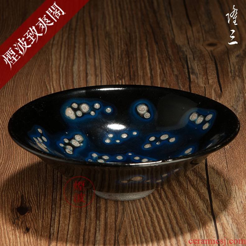 Those long Japanese pottery to obsidian temmoku bowl built light tea light cup - 1 C