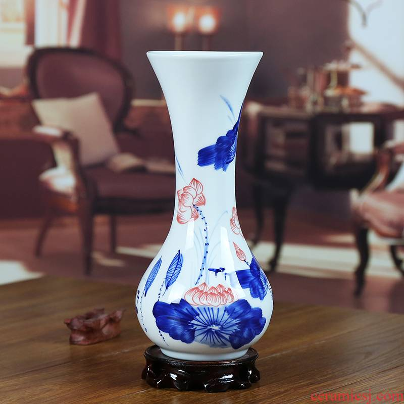 Jingdezhen ceramic vase modern blue and white porcelain painting lotus flower crafts home sitting room place gifts