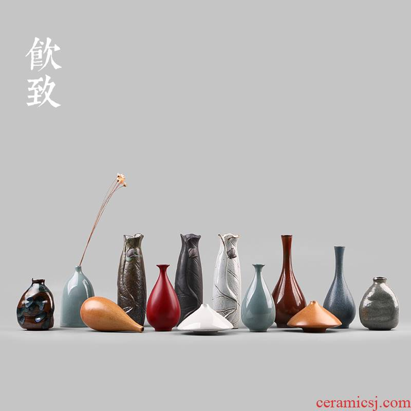 Ultimately responds to coarse pottery mini floret bottle zen Japanese ceramics hydroponic flowers, small ornament household flower tea to restore ancient ways