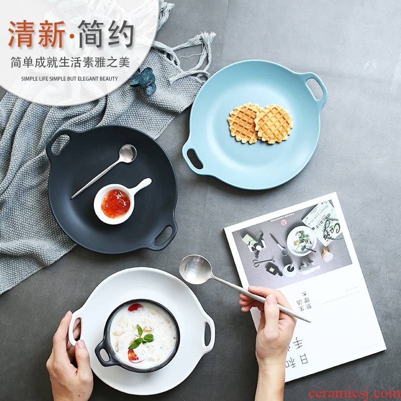 Japanese ceramics tableware household creative breakfast dish plate ears rectangle plate ears dish fish dish fruit plate
