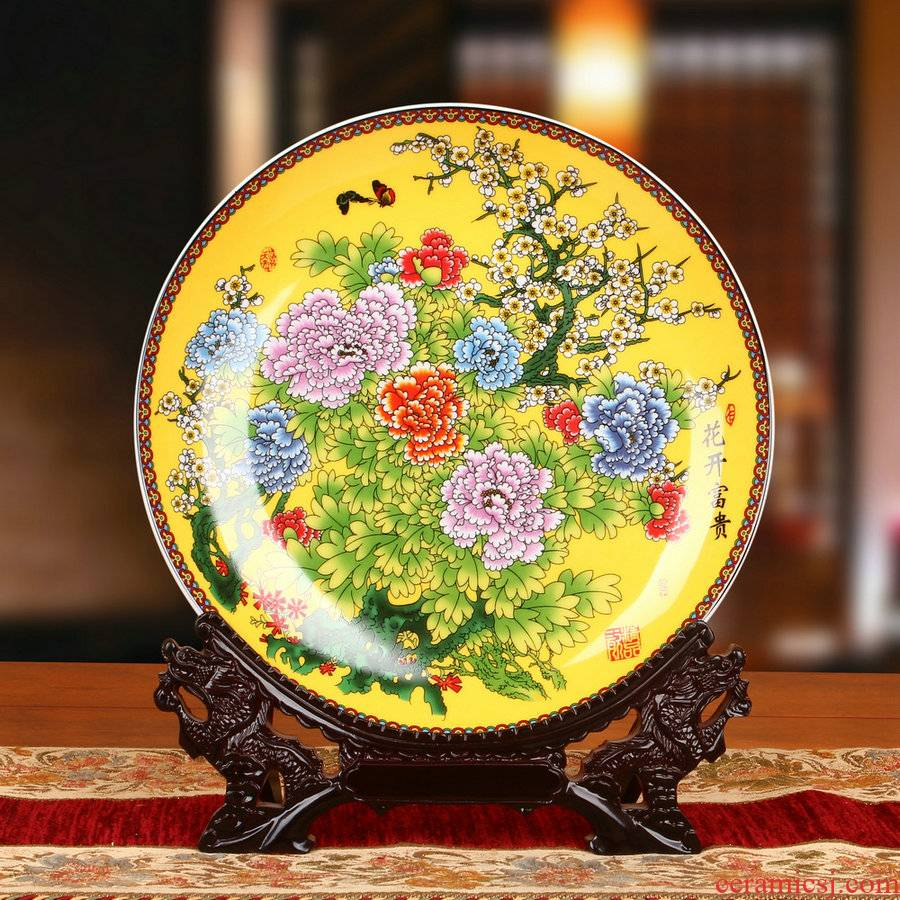 Jingdezhen ceramics enamel see colour yellow peony sit faceplate hang dish modern Chinese style decoration plate furnishing articles