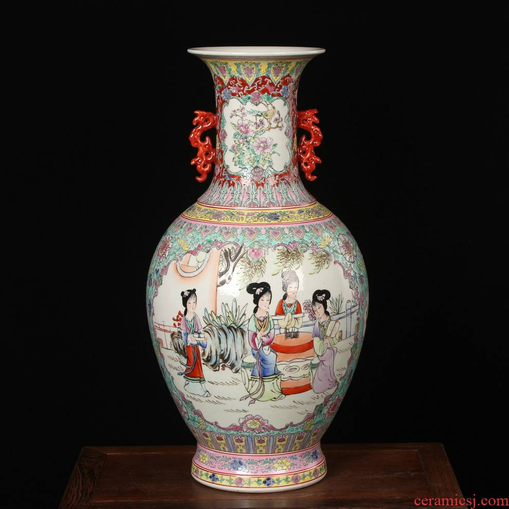 Art porcelain factory enamel ears open places had vases, antique Chinese style household furnishing articles decoration arts and crafts