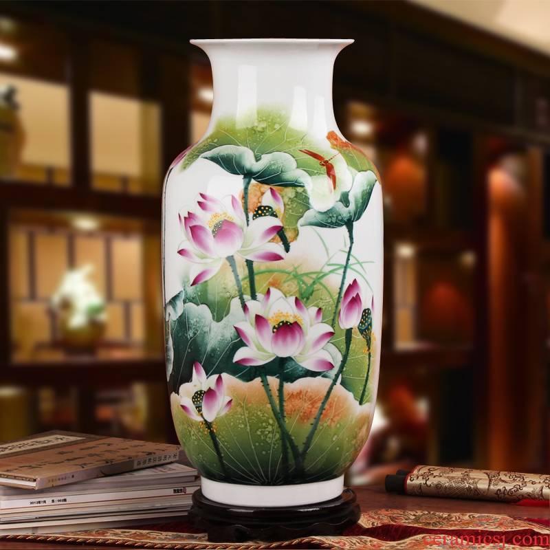 Famous hu, jingdezhen ceramics vase upscale gift hand famille rose porcelain lotus east gourd bottle
