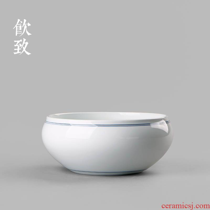 Ultimately responds to wash to the xuan wen blue and white porcelain household big tea ceramic cup wash to Japanese zen tea accessories water jar is built