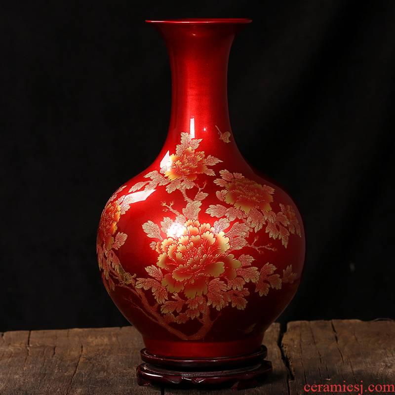 Jingdezhen ceramic vases, crystal glaze peony modern wedding gifts home sitting room place classic arts and crafts