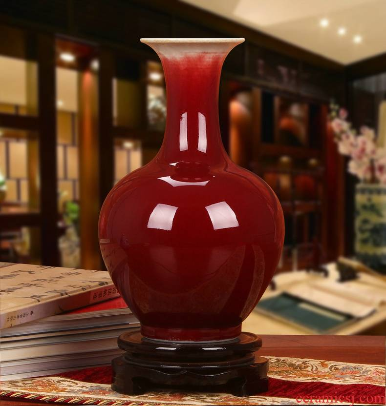 Jingdezhen ceramics glaze color red vase lang, modern Chinese style fashion household crafts decorations