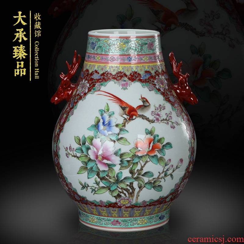 Jingdezhen hand - made powder enamel deer head statute of vases, flower receptacle antique Chinese style classical collection handicraft furnishing articles