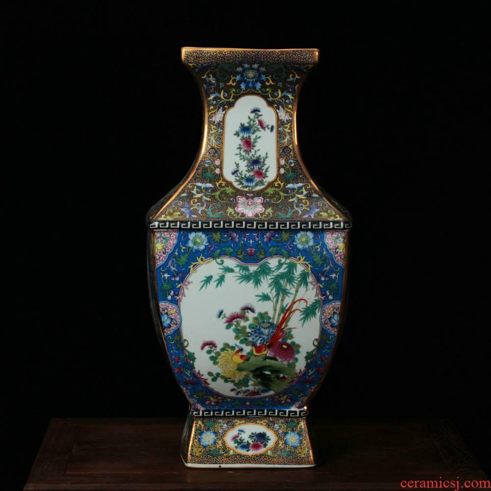 Jingdezhen ceramics vase see colour enamel archaize square flower vase classical household adornment furnishing articles