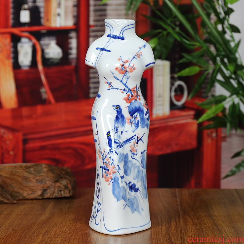 Sitting room beaming modern blue and white porcelain of jingdezhen ceramic vase household furnishing articles cheongsam crafts gifts