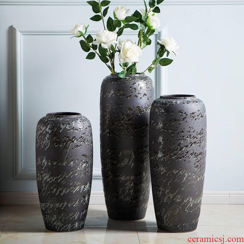 Jingdezhen ceramic vases, flower arrangement sitting room big vase furnishing articles large - sized high ground black home decoration vase