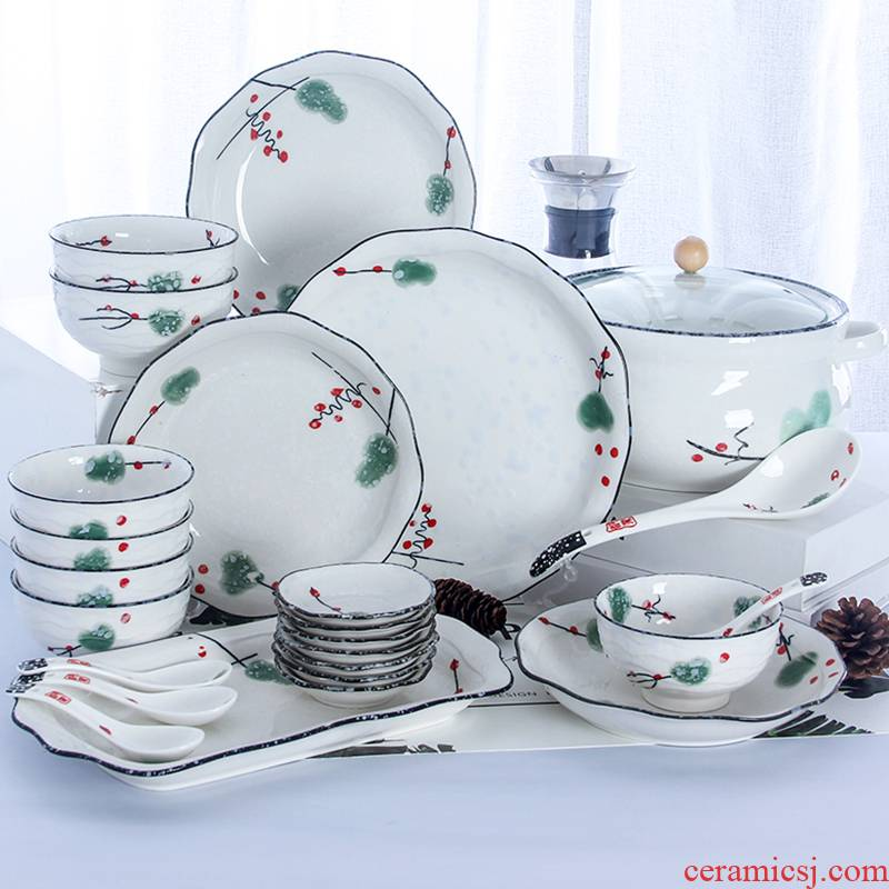 4/6 people Eat bowl chopsticks dishes suit household jingdezhen ceramics plate combination 2 Japanese contracted tableware