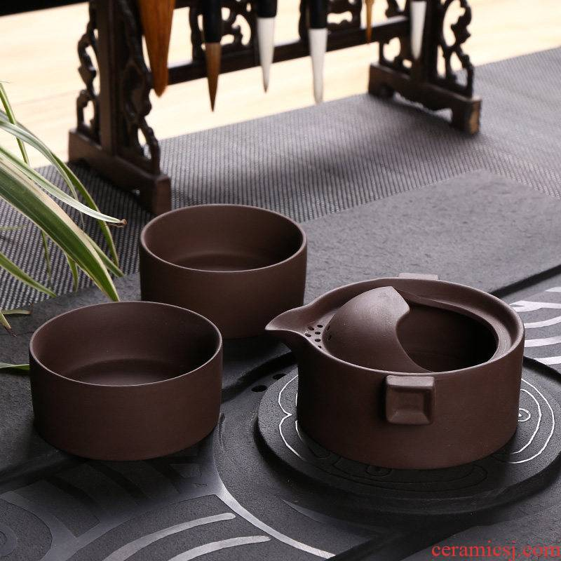 Yixing purple sand crack cup improvised a pot of 2 cup teapot teacup suit portable bag ceramic kung fu tea set