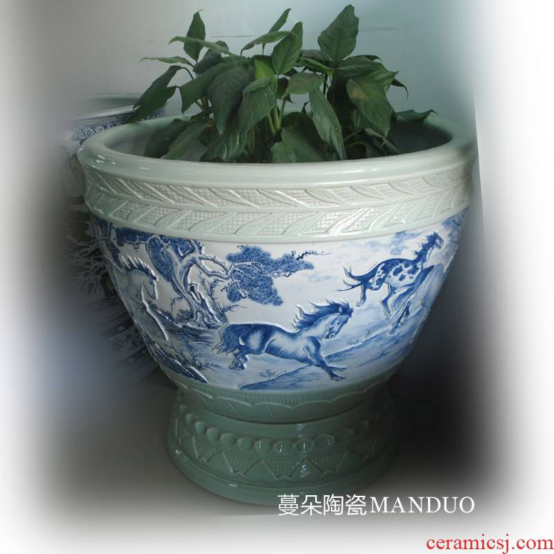 Jingdezhen blue and white horse relief figure China porcelain flowers with foot cylinder China aquarium diameter of 80