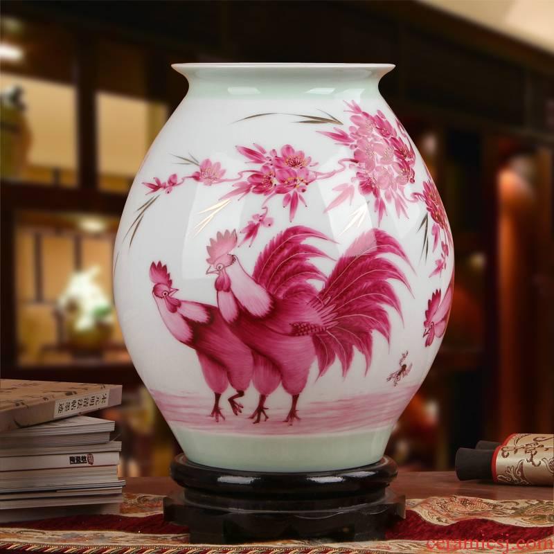 Famous Xia Guoan high - grade gift porcelain vase hand - made works of jingdezhen ceramics powder enamel three figure bottles