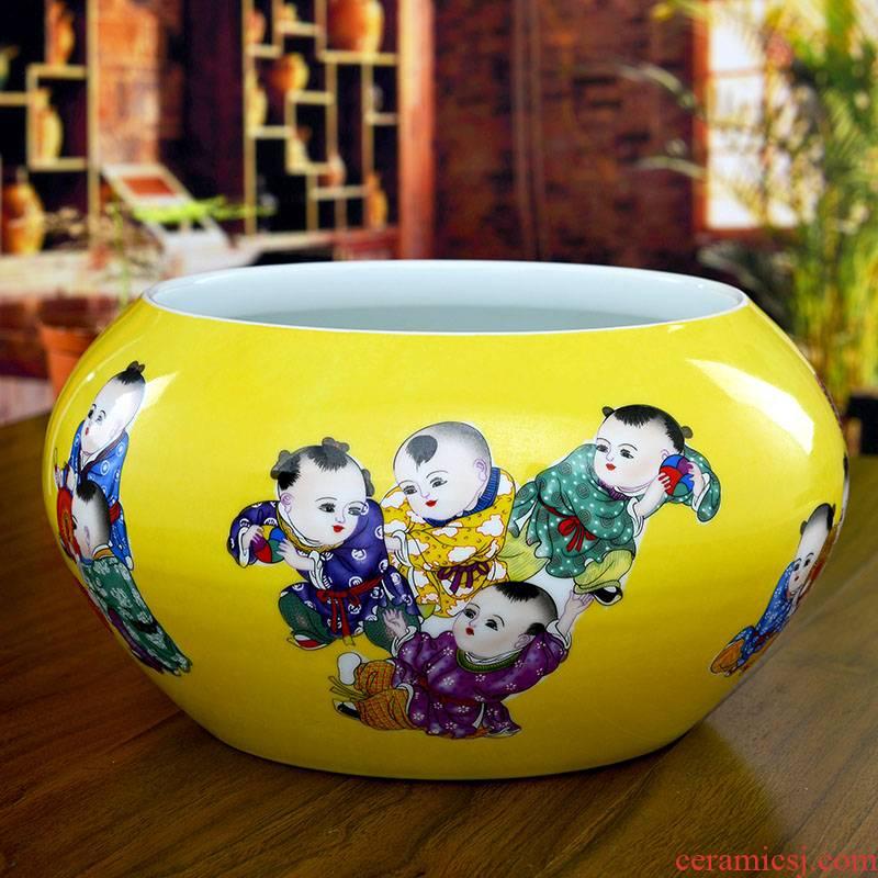 Jingdezhen ceramics yellow glaze the lad goldfish bowl shallow tortoise cylinder modern home sitting room handicraft furnishing articles