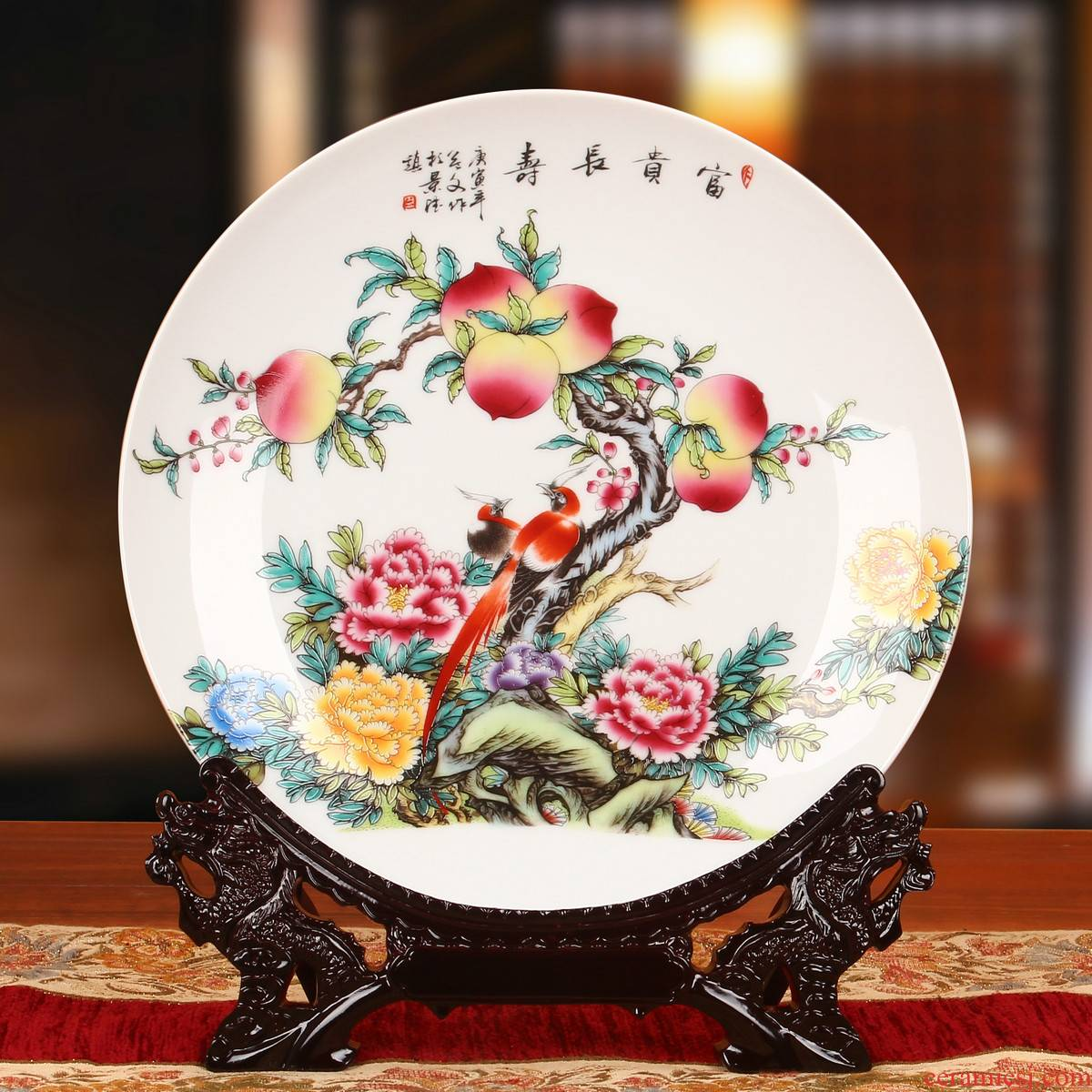 Jingdezhen ceramics pastel peach faceplate hang dish of rural household decoration decoration decoration plate