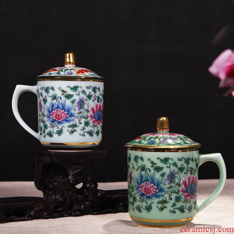 Red xin gold coloured drawing or pattern celadon teacup office ceramic cups with cover glass tea cup