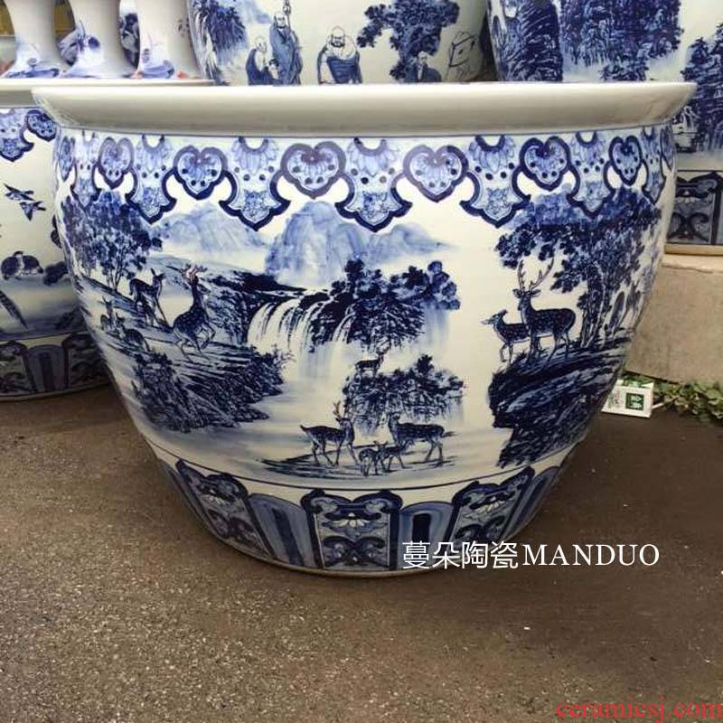 Jingdezhen crane, deer with spring porcelain vase big cylinder diameter around 80 porcelain cylinder cylinder high 60 or so