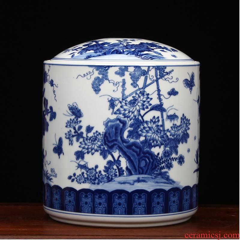 Blue and white porcelain of jingdezhen ceramics furnishing articles large peony flower pot of pu 'er tea store receives all around tea cake tin