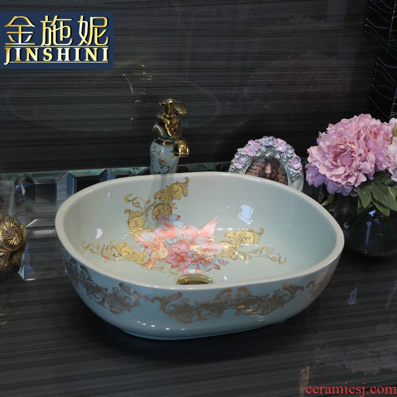 Gold cellnique stage basin sink modern fashion simple round ceramic lavatory basin blue home