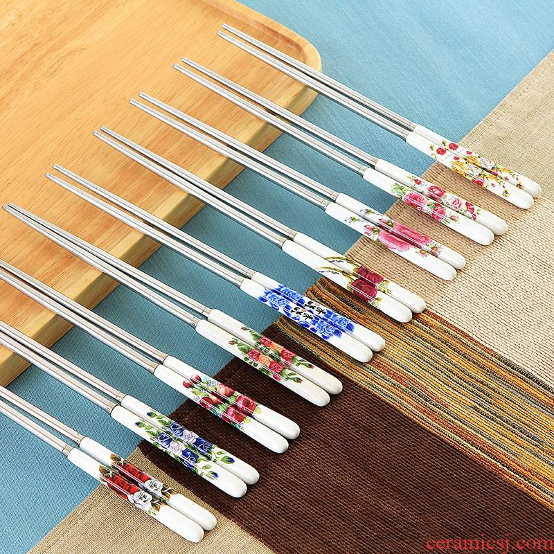 Jingdezhen ceramic handle stainless steel chopsticks insulation mouldproof environmental health chopsticks portable hot resistant to fall flowers