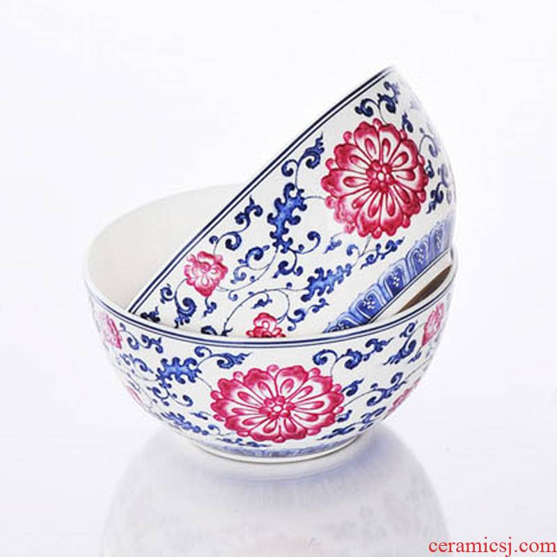 Red xin jingdezhen characteristics tableware bowl sets ipads bowls small bowl of rice bowl bowl of blue and white color bucket