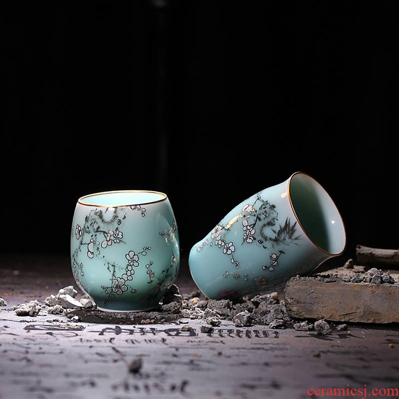 Red xin celadon coloured drawing or pattern glass ceramic tea set personal tea cup master cup sample tea cup, kung fu tea set
