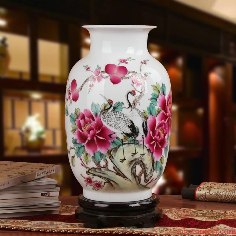 Famous Xia Guoan jingdezhen ceramics vase upscale gift hand famille rose porcelain vase peony pine crane