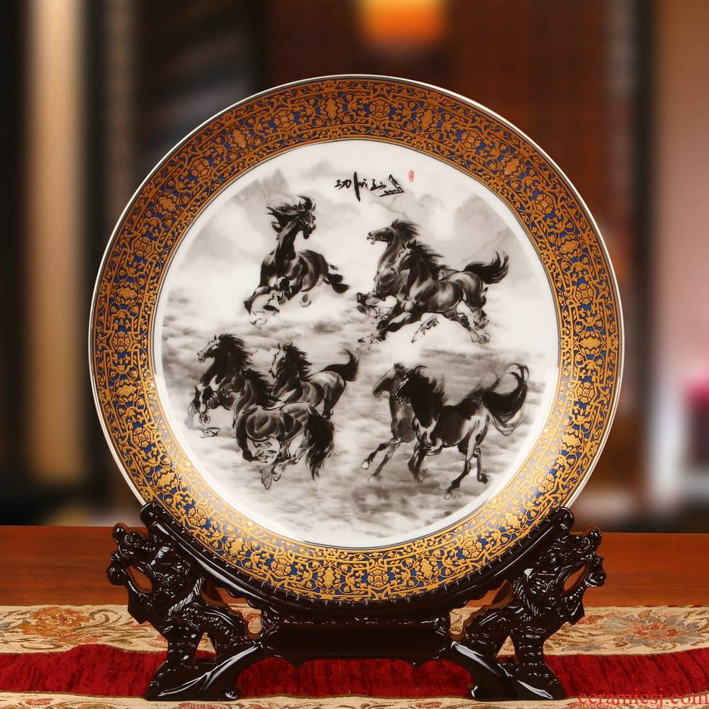 Chinese jingdezhen ceramics four jun figure up phnom penh horse faceplate hang dish plate the study decorate household furnishing articles