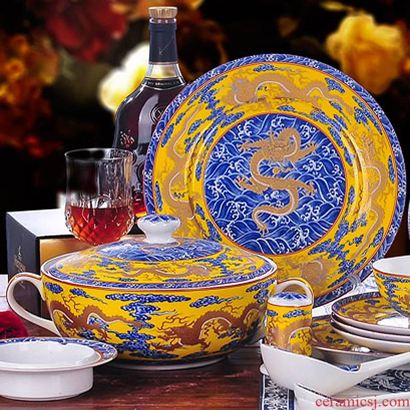 56 the head of jingdezhen porcelain tableware suit to use ipads plates Chinese tableware hai - long huang
