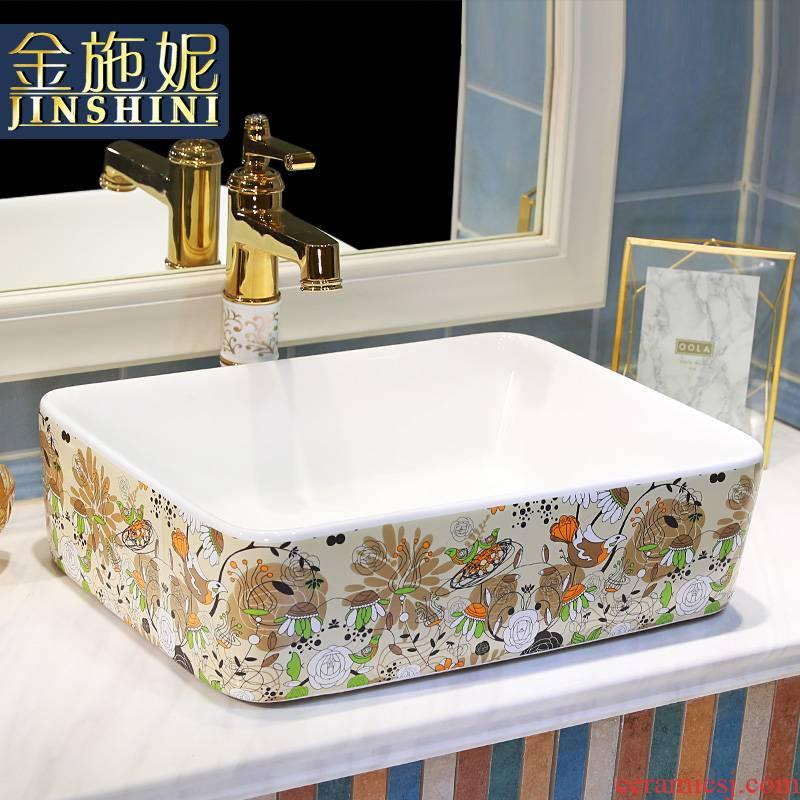 Gold cellnique color ceramic lavatory sink bathroom toilet stage basin of jingdezhen ceramic commode