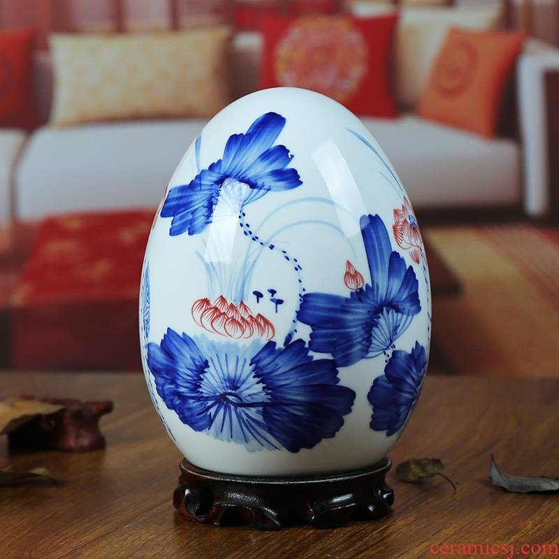 Jingdezhen ceramic vase modern blue and white porcelain dou color lotus home sitting room place the egg handicraft gifts