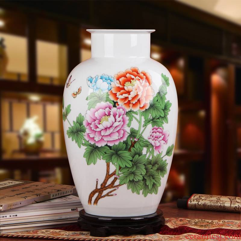 Famous works of hu, jingdezhen ceramics vase upscale gift hand famille rose porcelain vase peony