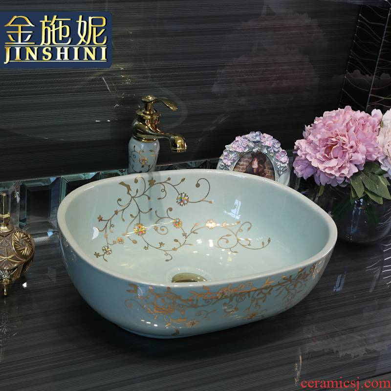 Gold cellnique sanitary ceramics basin basin sink basin of I and contracted toilet hand of art color