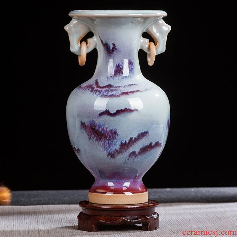 Jun porcelain up jingdezhen ceramics flower glaze floret bottle of modern home sitting room classic furnishing articles decorative arts and crafts