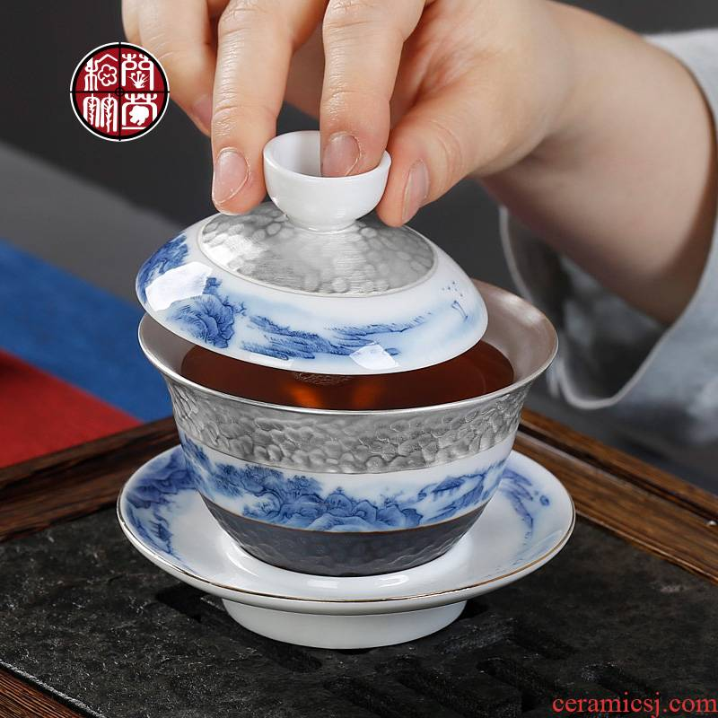 Only three silver was tea tureen coppering. As jingdezhen porcelain industry kunfu tea hand grasp tea bowl of tea cover cup of restoring ancient ways