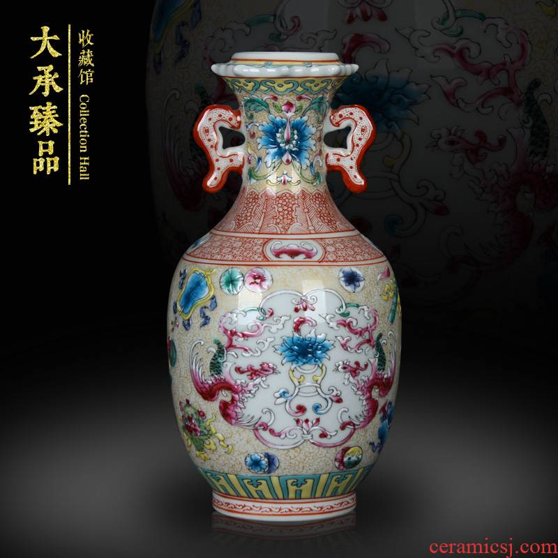 Antique Chinese hand made pastel jingdezhen ceramics vase phoenix song rich ancient frame, secretary of small handicraft